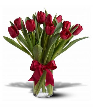 20 Red Tulips with Vase