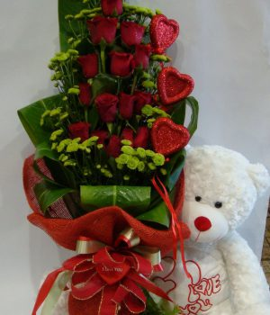 Sw0126 15 Red Rose, 10 chrystantimum green, 1 teddy,3hearts525 AED 144$