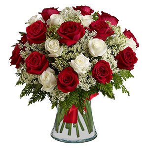 15 Red Roses & 15 white Roses with Vase