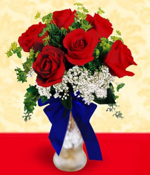 6 Roses with vase