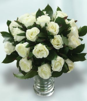 24 White Roses with Vase