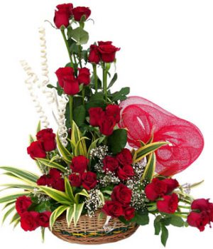 15 Red Roses in Basket