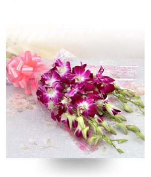 Orchids Bouquet with Pink Ribbon