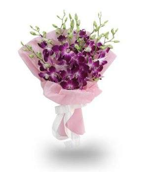 Orchids Bouquet with White Ribbon